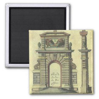 Arco da porta de jardim do vintage, arquitetura do ímã quadrado