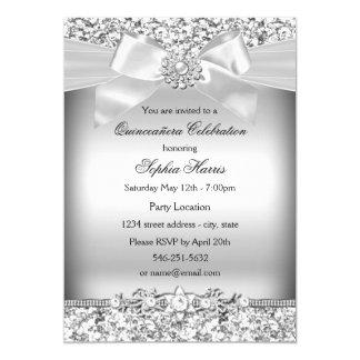 Arco de prata Quinceanera do brilho & da jóia Convite 12.7 X 17.78cm