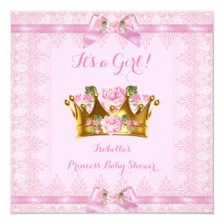 Arco do laço do rosa do rosa da princesa chá de convite quadrado 13.35 x 13.35cm