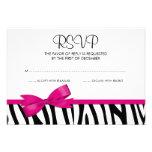Arco impresso RSVP do rosa quente da zebra Convite