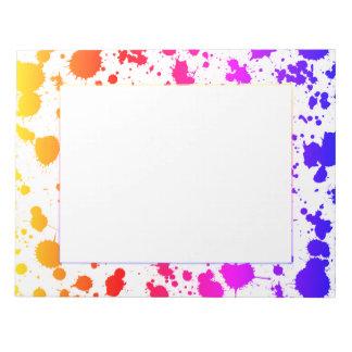 Arco-íris brilhante colorido do Splatter do Bloco De Notas