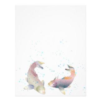 Arco-íris brilhante Koi colorido & Bolha-Papel de Papel Timbrado