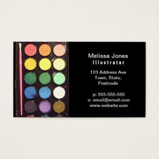 Arco-íris colorido da caixa da pintura cartão de visitas