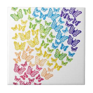 Arco-íris da borboleta azulejo de cerâmica