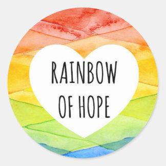 Arco-íris da esperança - etiqueta do bebê do