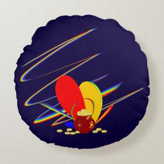 Arco-íris da mágica do ANG do dinheiro do ouro Almofada Redonda