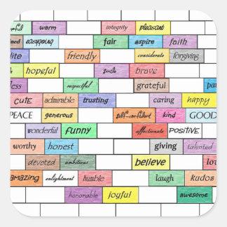 Arco-íris de grafites inspirados adesivo quadrado