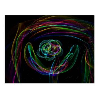 Arco-íris de néon brilhante Funky sobre o esboço Cartão Postal
