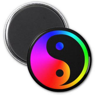 arco-íris de yang do yin ímã redondo 5.08cm