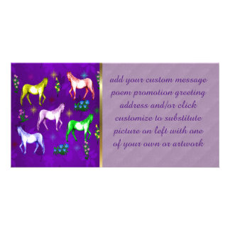 Arco-íris do cavalo cartao com fotos personalizado