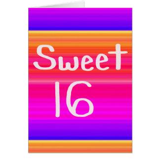 Arco-íris do doce 16 cartão comemorativo