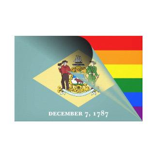 Arco-íris do orgulho gay da bandeira de Delaware Impressão Em Tela