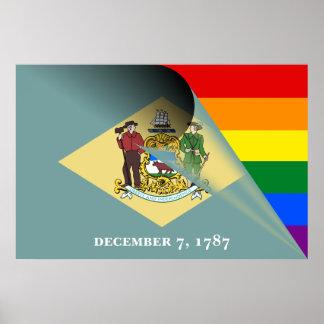 Arco-íris do orgulho gay da bandeira de Delaware Pôster
