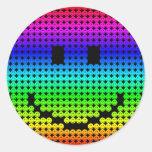 Arco-íris do smiley de Borg Adesivos Redondos