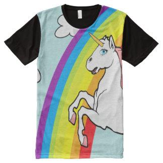 Arco-íris do unicórnio camiseta com impressão frontal completa
