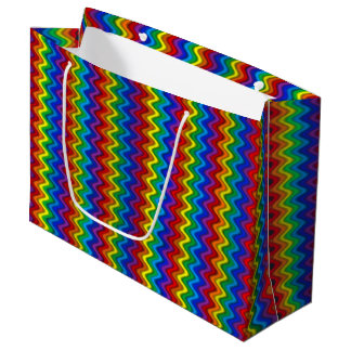 Arco-íris do ziguezague sacola para presentes grande