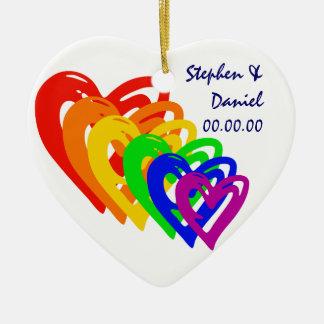 Arco-íris dos corações ornamento de cerâmica coração