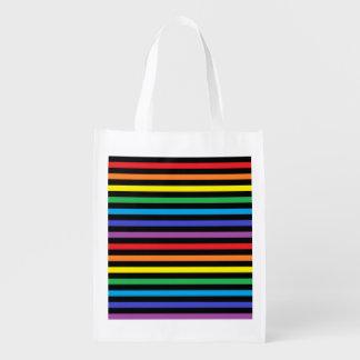Arco-íris e a bolsa de compra reusável das listras sacola reusável