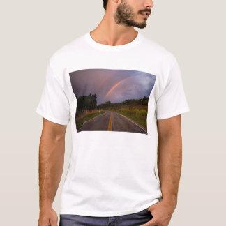 Arco-íris e estrada camiseta