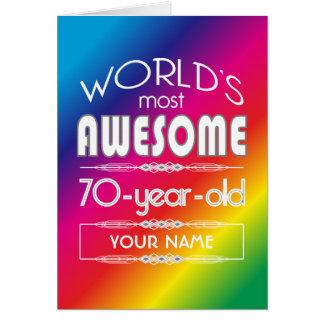 arco-íris fabuloso dos mundos do aniversário do 70 cartão comemorativo