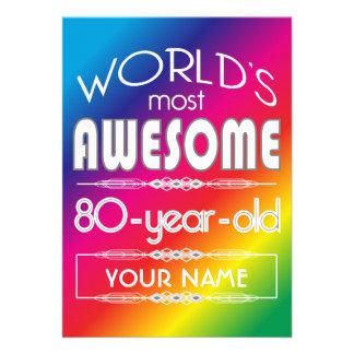 arco-íris fabuloso dos mundos do aniversário do 80 convite personalizados