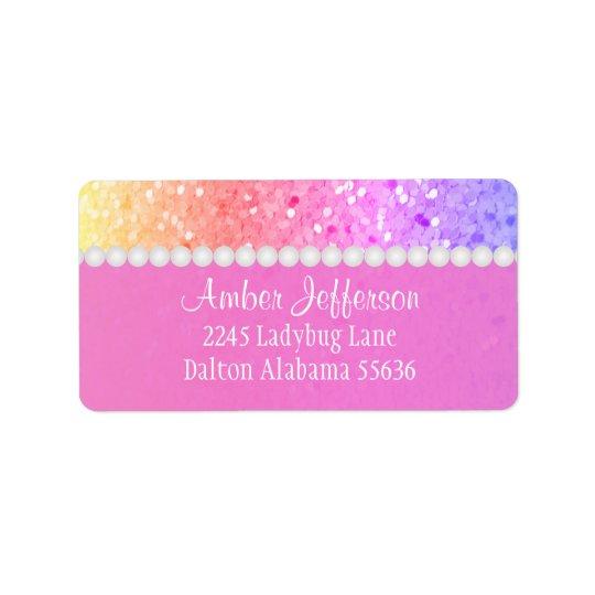 Arco-íris Glitterl: Etiquetas de endereço