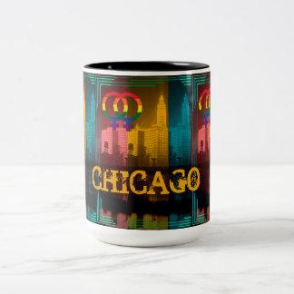 Arco-íris lésbica alegre Wrigley Bldg do interesse Caneca De Café Em Dois Tons