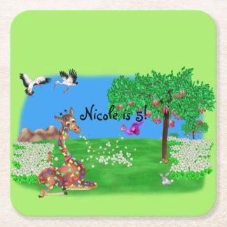 Arco-íris & Lila de Flowerchain pelo Juul feliz Porta-copo De Papel Quadrado