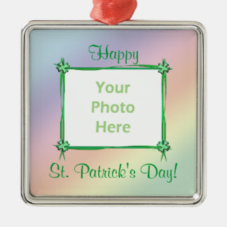 Arco-íris Pastel do dia do St. Patricks (quadro da Ornamento Quadrado Cor Prata