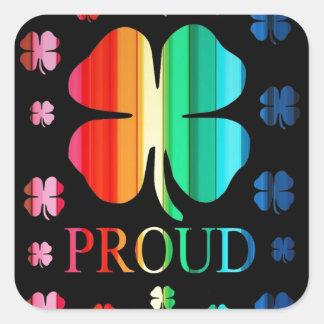 Arco-íris RoyGeeBiv do trevo de quatro folhas - Adesivo Quadrado