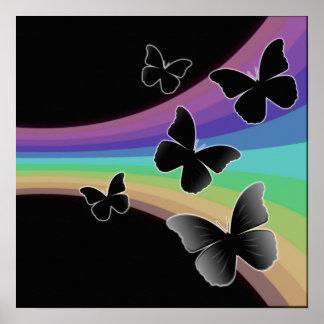 Arco-íris silenciado no preto - borboletas poster