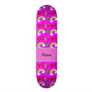Arcos-íris cor-de-rosa de néon conhecidos feitos s shape de skate 18,4cm