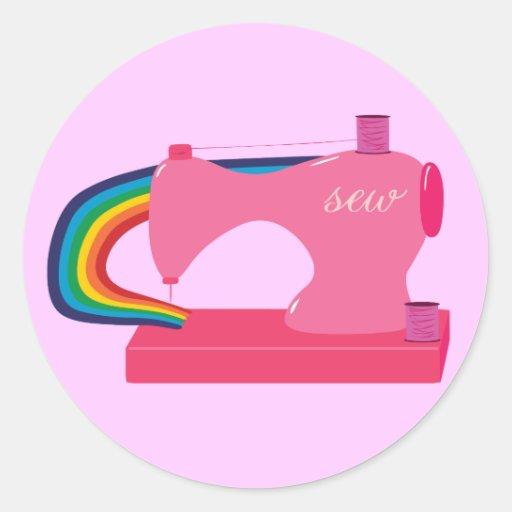 Arcos-íris Sewing Adesivo Em Formato Redondo
