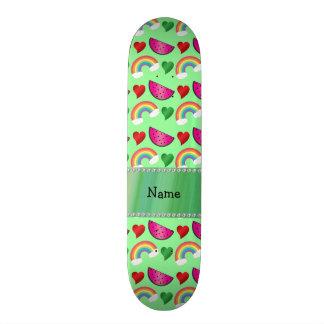 Arcos-íris verdes pastel conhecidos feitos sob enc shape de skate 20,6cm