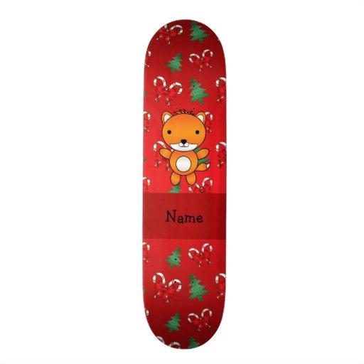 Arcos vermelhos personalizados do Natal da raposa  Skateboard