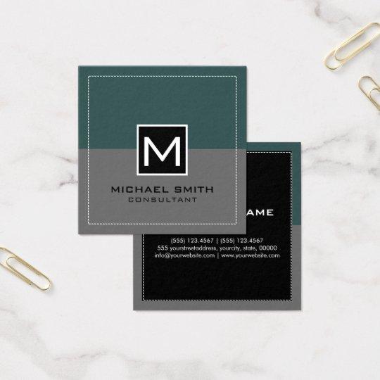 Ardósia cinzenta moderna elegante do monograma cartão de visitas quadrado
