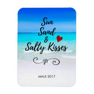 Areia de Sun e praia tropical dos beijos salgados Ímã