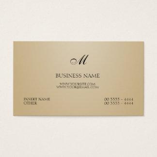 Areia elegante e monograma cartão de visitas
