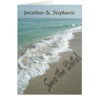 Areia escrevendo na praia, cartões salve a data