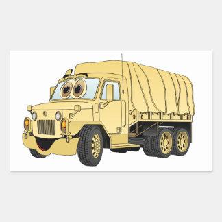 Areia militar dos desenhos animados do caminhão da adesivo retangular