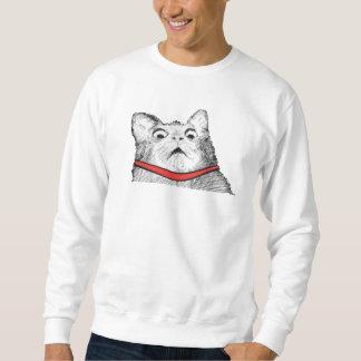 Arfada surpreendida Meme do gato - camisola Moleton