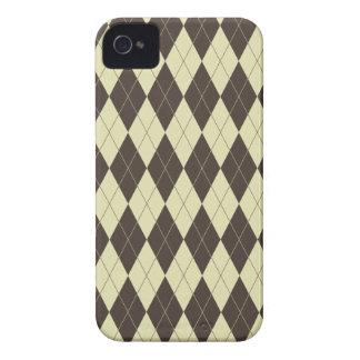 Argyle Brown e creme branco Capa Para iPhone