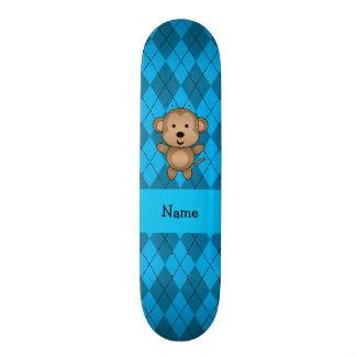 Argyle conhecido personalizado do azul do macaco skates