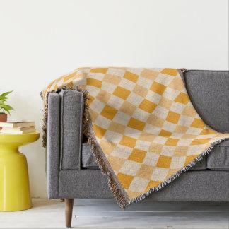Argyle rockabilly amarelo retro geral do lance manta