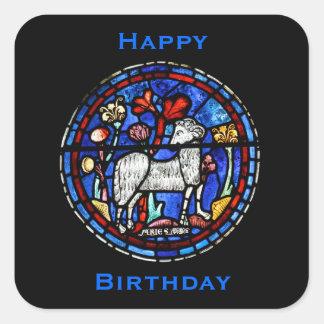 Aries - astrologia - vitral gótico Windows - Adesivo Quadrado