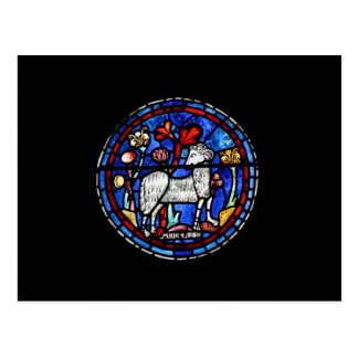 Aries - astrologia - vitral gótico Windows - Cartão Postal