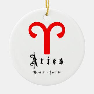 Aries, o 21 de março - 19 de abril ornamento de cerâmica redondo