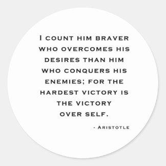 Aristotle - vitória sobre o auto adesivo