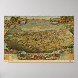 Arizona de Phoenix 1885 mapas panorâmicos Pôster