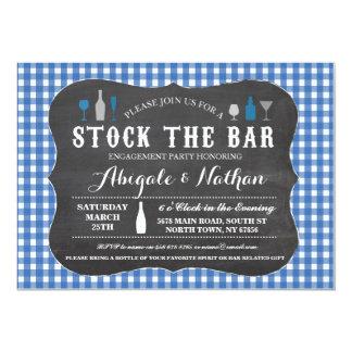Armazene o convite azul da festa de noivado do bar